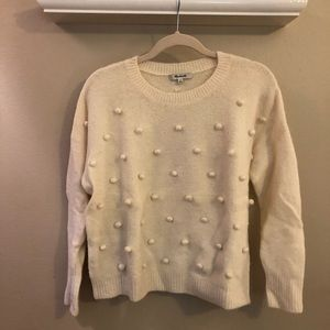 Madewell White Pom Pom Sweater